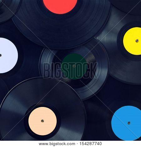 Music Background Retro Vinyl Discs Closeup, Sound And Disco Concept