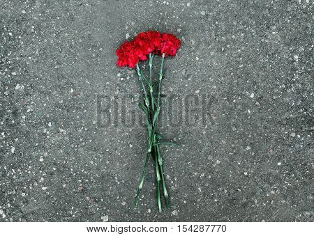 Red Carnations Flowers Lie On The Pavement, Symbol, Rest In Peace