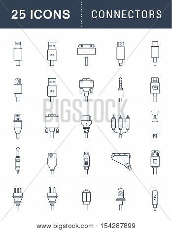 Electric plug connectors and jack flat line icons set. Collection Connection technology connector electric power mobile devices connect wire and socket