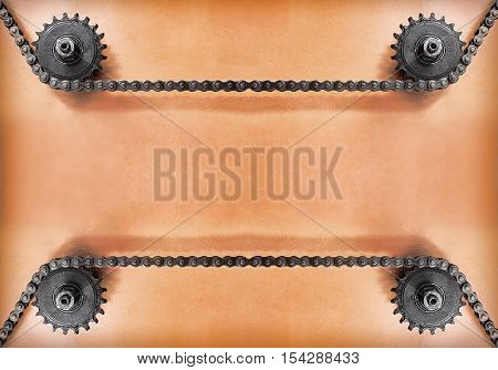 Metal cogwheels and double chain on grunge background with empty space for text.Technology background.