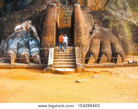 Sigiriya Sri Lanka - April 30 2009: Sigiriya Lion Rock Fortress at Sri Lanka