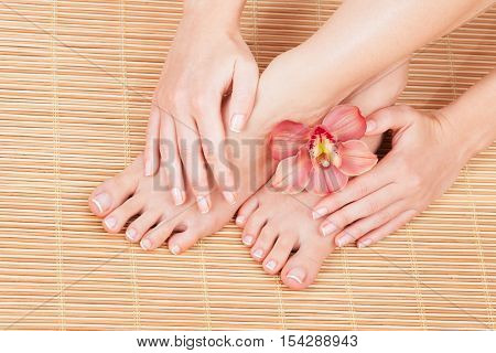Care for beautiful woman skin and nails. Pedicure and manicure at beauty salon. Woman legs, hands with flower on bamboo. Spa therapy. Closeup photo of female feet with white french manicure, pedicure