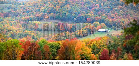 Scenic rural Vermont landscape in foliage season