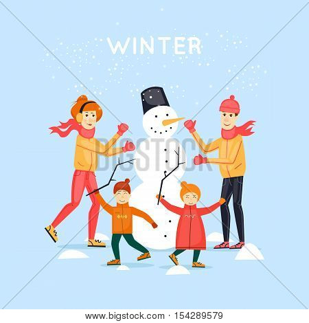 Family sculpts snowman. Merry Christmas and Happy New Year. Flat design vector illustration.