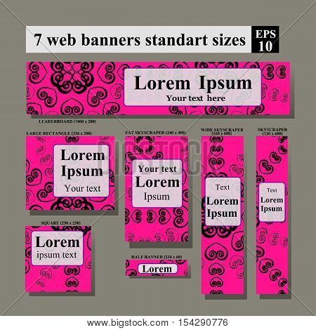 Dating site web banners. Pink background Vector