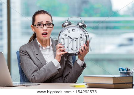 Businesswoman failing to meet her deadlines in business concept