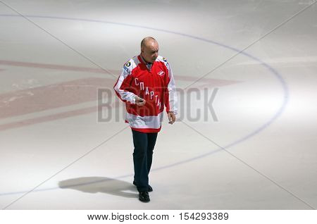 MOSCOW RUSSIA - SEPTEMBER 27 2016: Legendary hockey player V. Kucherenko just before hockey game Spartak vs Ugra on Russia KHL championship on September 27 2016 in Moscow Russia. Ugra won 3:2