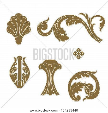 Set of golden vintage baroque frame scroll ornament elements. Vintage elements, baroque elements, scroll elements, filigree elements, floral elements, deco elements, corner elements, liana elements, vine elements. Vector.