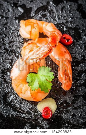 Closeup Of Prawns Served In A Special Way