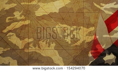 Usa Flag Camouflage Background and Converging Lines
