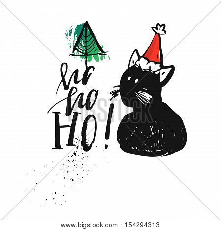 Hand drawn vector abstract Merry Christmas greeting card with calligraphy Hohoho.Handwritten modern brush lettering with graphic cute black cat character and Christmas tree.Christmas greeting card.