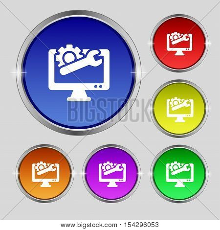 Repair Computer Icon Sign. Round Symbol On Bright Colourful Buttons. Vector