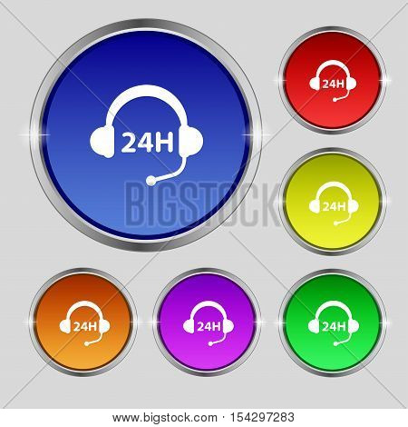 Support 24 Hours Icon Sign. Round Symbol On Bright Colourful Buttons. Vector
