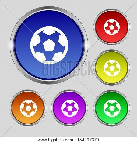 Football, Soccerball Icon Sign. Round Symbol On Bright Colourful Buttons. Vector