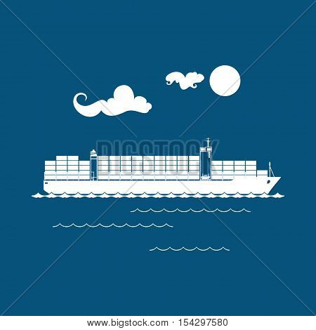 Cargo Container Ship Isolated on Blue Background ,Industrial Marine Vessel with Containers on Board , International Freight Transportation, Vector Illustration