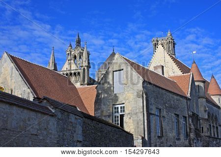Medieval abbey and houses in Laon, France