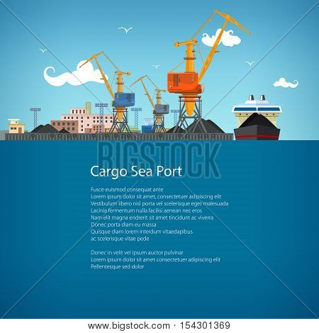 Unloading Coal or Ore from the Dry Cargo Ship, Sea Freight Transportation, Cargo Transport, Port Warehouses and Cranes, Poster Brochure Flyer Design ,Vector Illustration