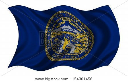 Flag of the US state of Nebraska. American patriotic element. USA banner. United States of America symbol. Nebraskan official flag with real detailed fabric texture wavy isolated on white illustration