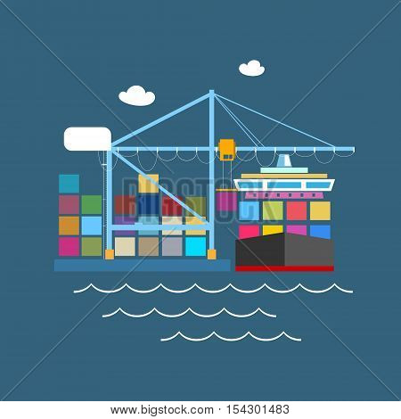 Cargo Container Ship at the Dock at Sea, Unloading Containers from a Cargo Ship in a Seaport with Cargo Crane, International Freight Transportation, Vector Illustration