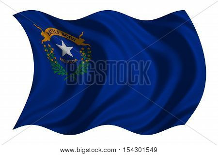 Flag of the US state of Nevada. American patriotic element. USA banner. United States of America symbol. Nevadan official flag with real detailed fabric texture wavy isolated on white illustration