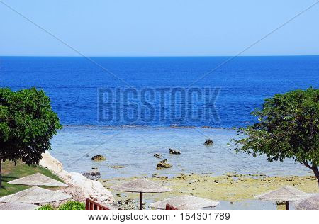 Sharm El Sheikh Egypt - August 20 2016: Coral beach landscape at Red sea in Sharm El Sheikh.
