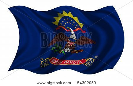 Flag of the US state of North Dakota. American patriotic element. USA banner. United States of America symbol. North Dakotan official flag detailed fabric texture wavy isolated on white illustration