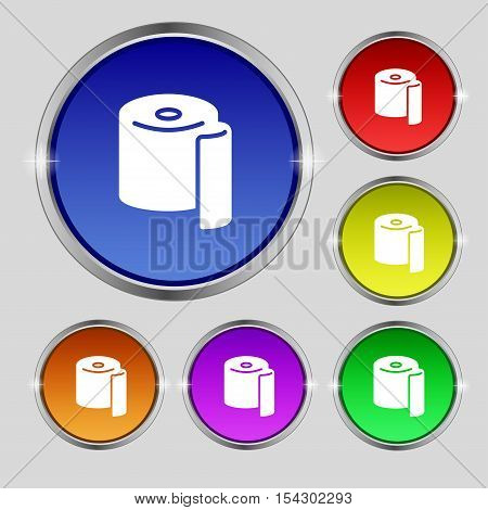 Toilet Paper Icon Sign. Round Symbol On Bright Colourful Buttons. Vector