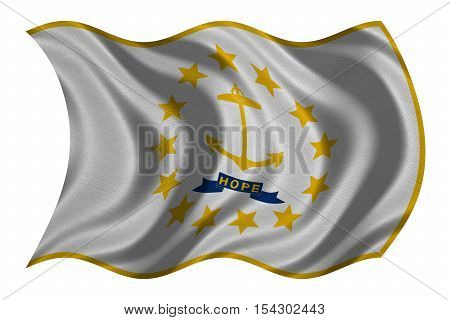 Flag of the US state of Rhode Island. American patriotic element. USA banner. United States of America symbol. Rhode Islander official flag detailed fabric texture wavy isolated on white illustration