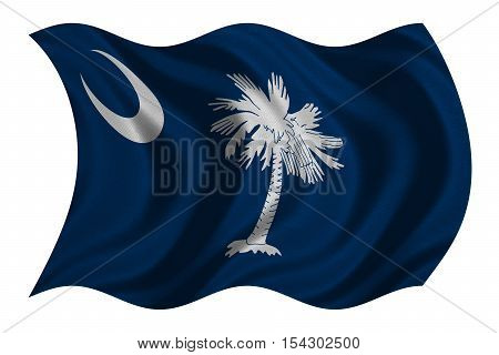 Flag of the US state of South Carolina. American patriotic element USA banner United States of America symbol South Carolinian official flag detailed fabric texture wavy isolated on white illustration