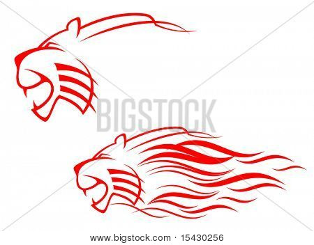 Jpeg version. Red tiger sign isolated on white as symbol. Vector version also available