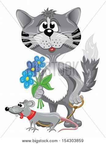Funny gray cat lead cute rat and blue flowers