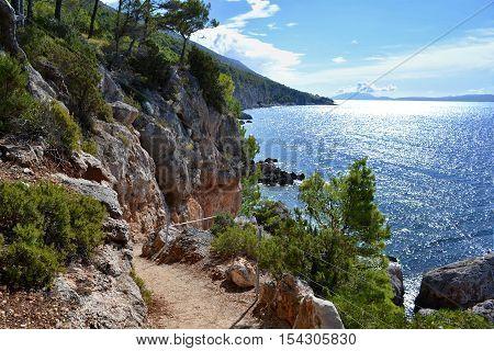 View on summer sea in Croatia on islan Hvar.