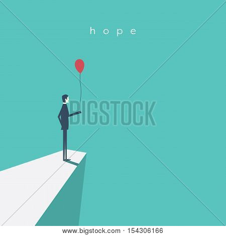 Business vector concept of hope, success, future. Businessman standing with red balloon. Eps10 vector illustration.