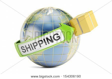 Global shipping and delivery concept 3D rendering isolated on white background