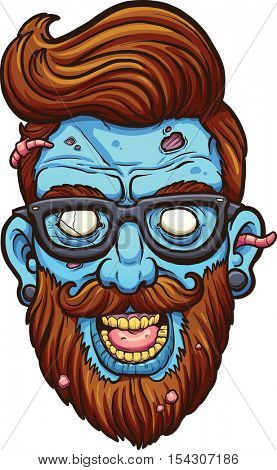 Hipster cartoon zombie head. Vector clip art illustration with simple gradients. All in a single layer.