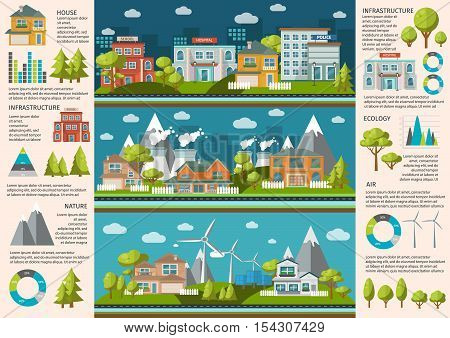 City life infographics with social infrastructure industrial buildings and green energy charts and statistics vector illustration