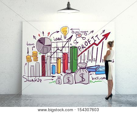 Side view of young woman looking at whiteboard with creative financial sketch in concrete room. Business presentation concept. 3D Rendering