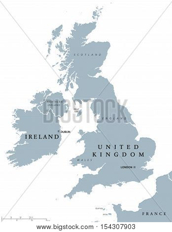 Ireland and United Kingdom political map with capitals Dublin and London and with national borders. Gray illustration of British Isles with English labeling and scaling on white background.