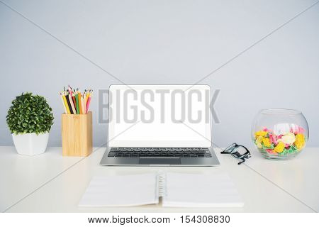 Desktop With White Laptop