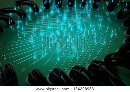 Close up of abstract digital fingerprint on green background. Security concept. 3D Rendering