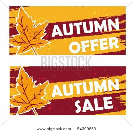 autumn offer and sale - yellow brown drawn banners with text and fall leaf business seasonal shopping concept