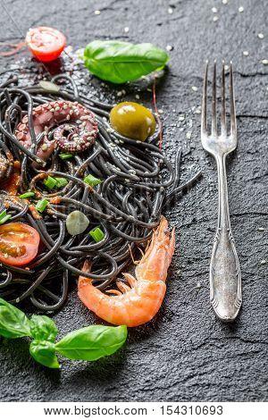 Spaghetti Made From Black Pasta And Shrimp
