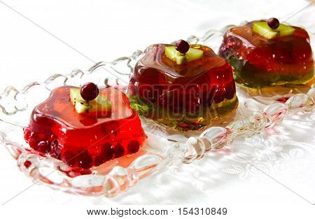 Raspberry jelly with berries jelly, aspic, berries, blancmange,