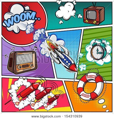 Comics book page with flight and sound effects tv and radio rocket on divided background vector illustration