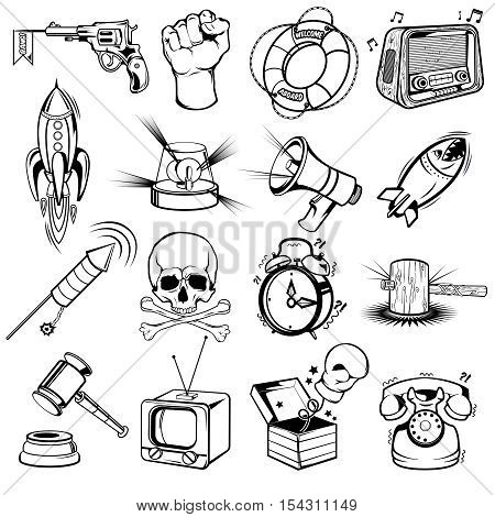 Comics monochrome elements set with skull and bones rockets phone and lifebuoy boxing glove isolated vector illustration