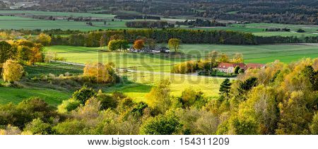 Danish countryside in yellow and green fall colors.