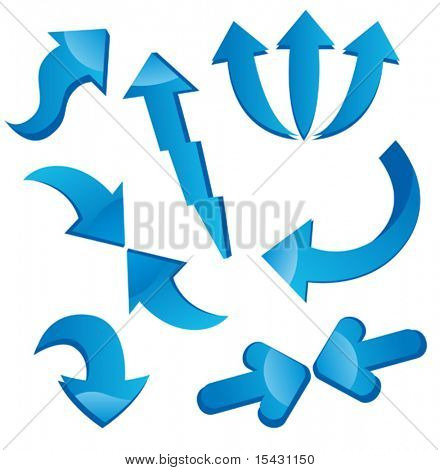 Vector version. Set of arrow icons isolated on white for web design. Jpeg version is also available