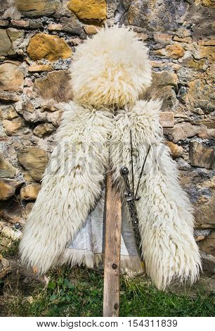 National caucasian fur hat, vest and knife at street shop in Ananuri castle .Georgia, Europe.