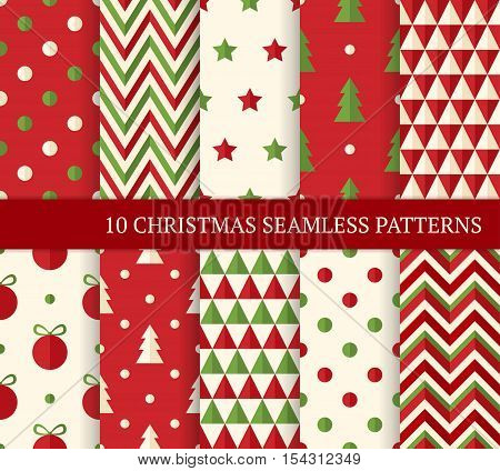 Ten Christmas different seamless patterns. Endless texture for wallpaper web page background wrapping paper and etc. Flat style. Polka dot zigzag Christmas tree and ball.