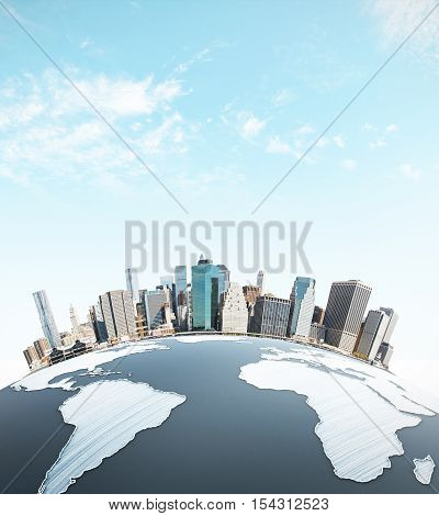 Abstract earth with cityscape on sky background. Urbanization concept. 3D Rendering